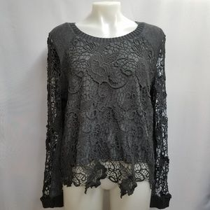 Free People Crochet Lace Gray Boho Popover Top M